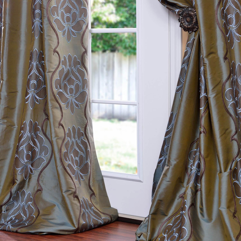 Toulon Sea Blue Silk Curtain