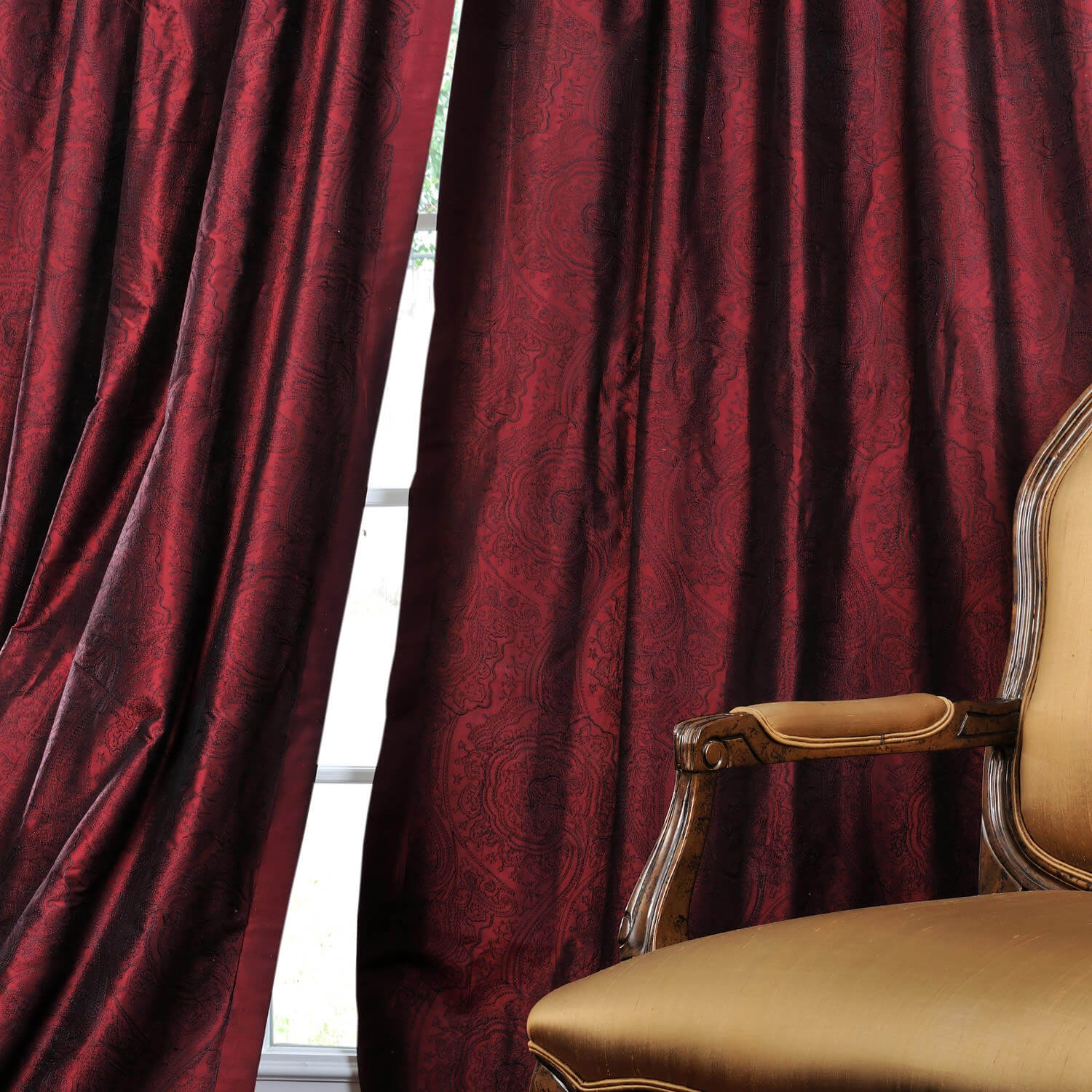 Merlot Jamawar Silk Curtain