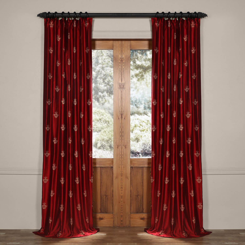 Trophy Bold Red Silk Curtain
