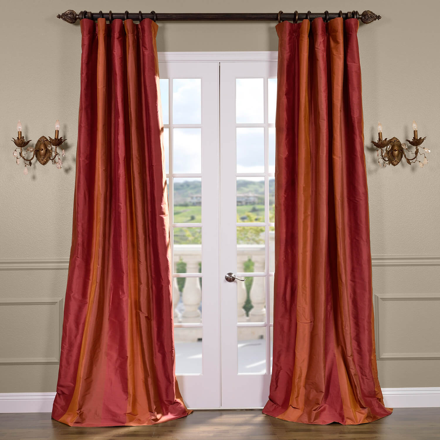 Woodbury Silk Taffeta Stripe Curtain