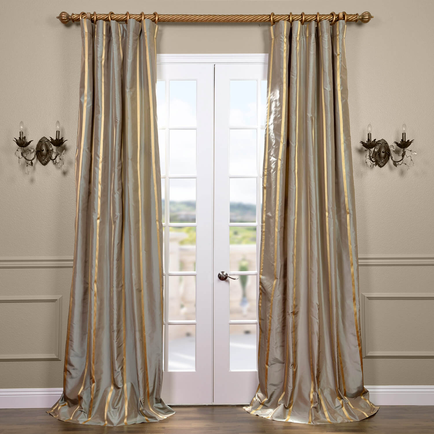 Providence Silk Taffeta Stripe Curtain