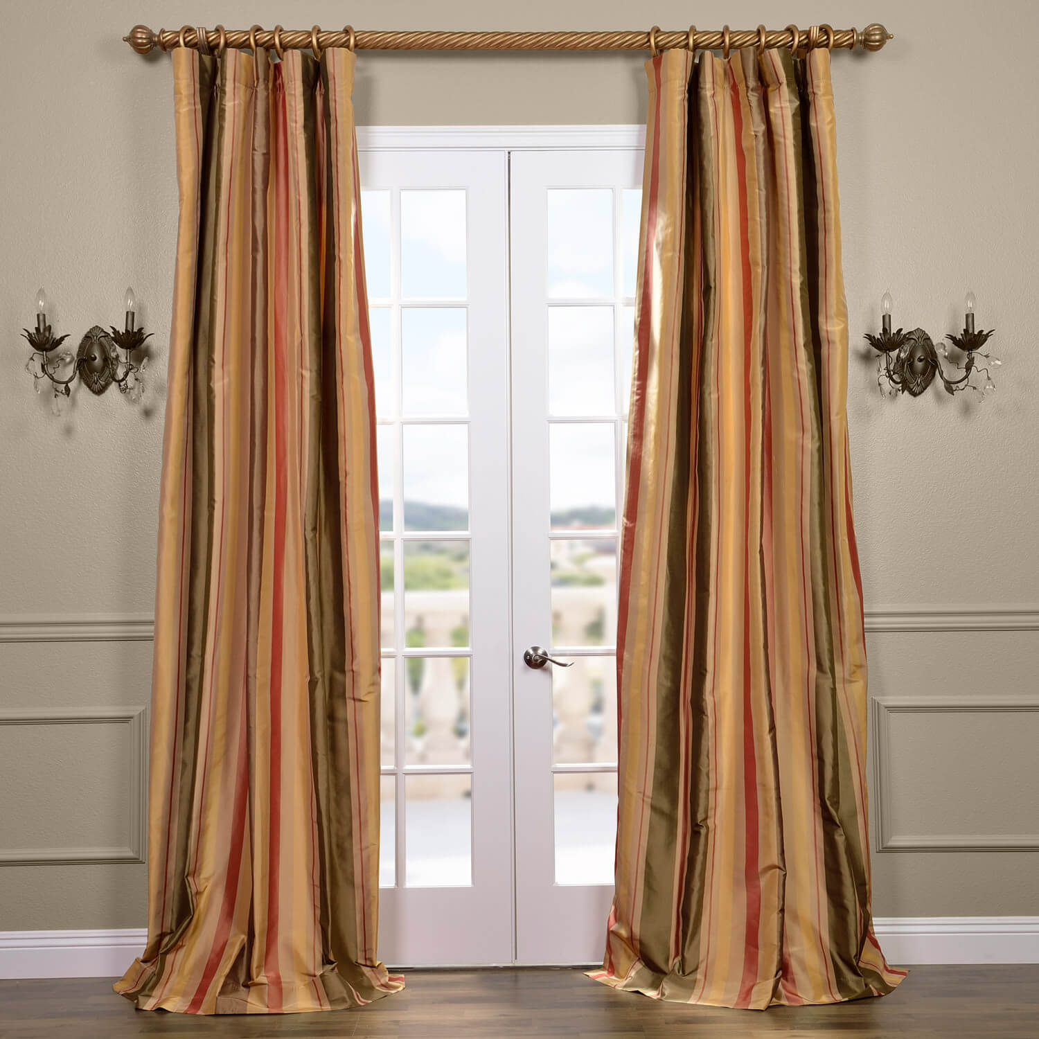 Pacific Heights Silk Stripe Curtain