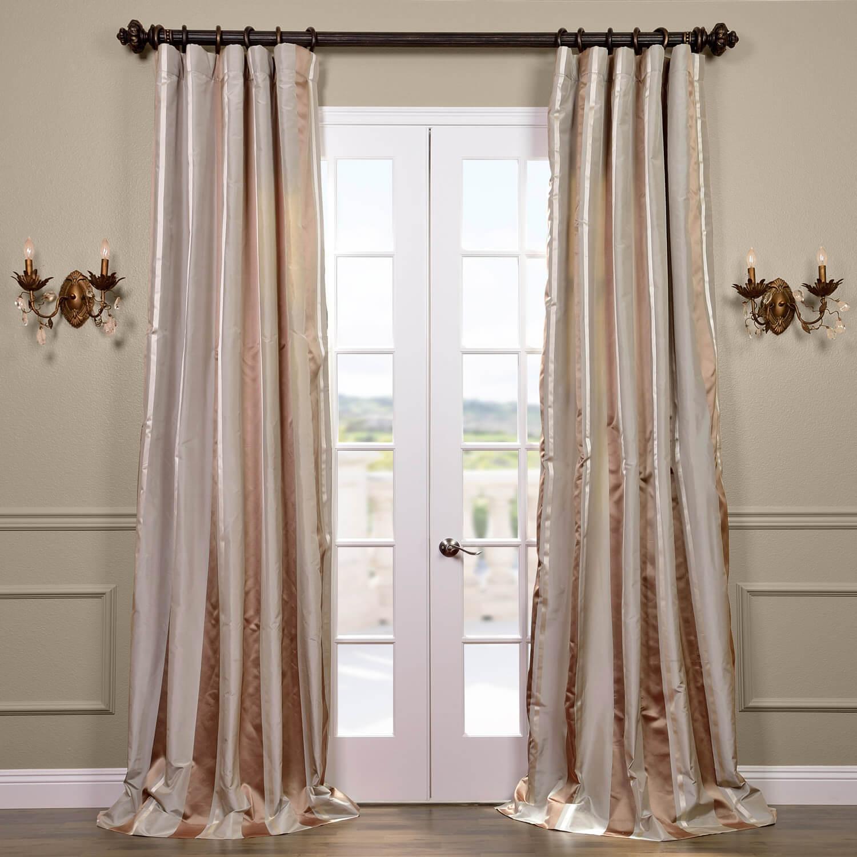 Dallas Silk Taffeta Satin Stripe Curtain
