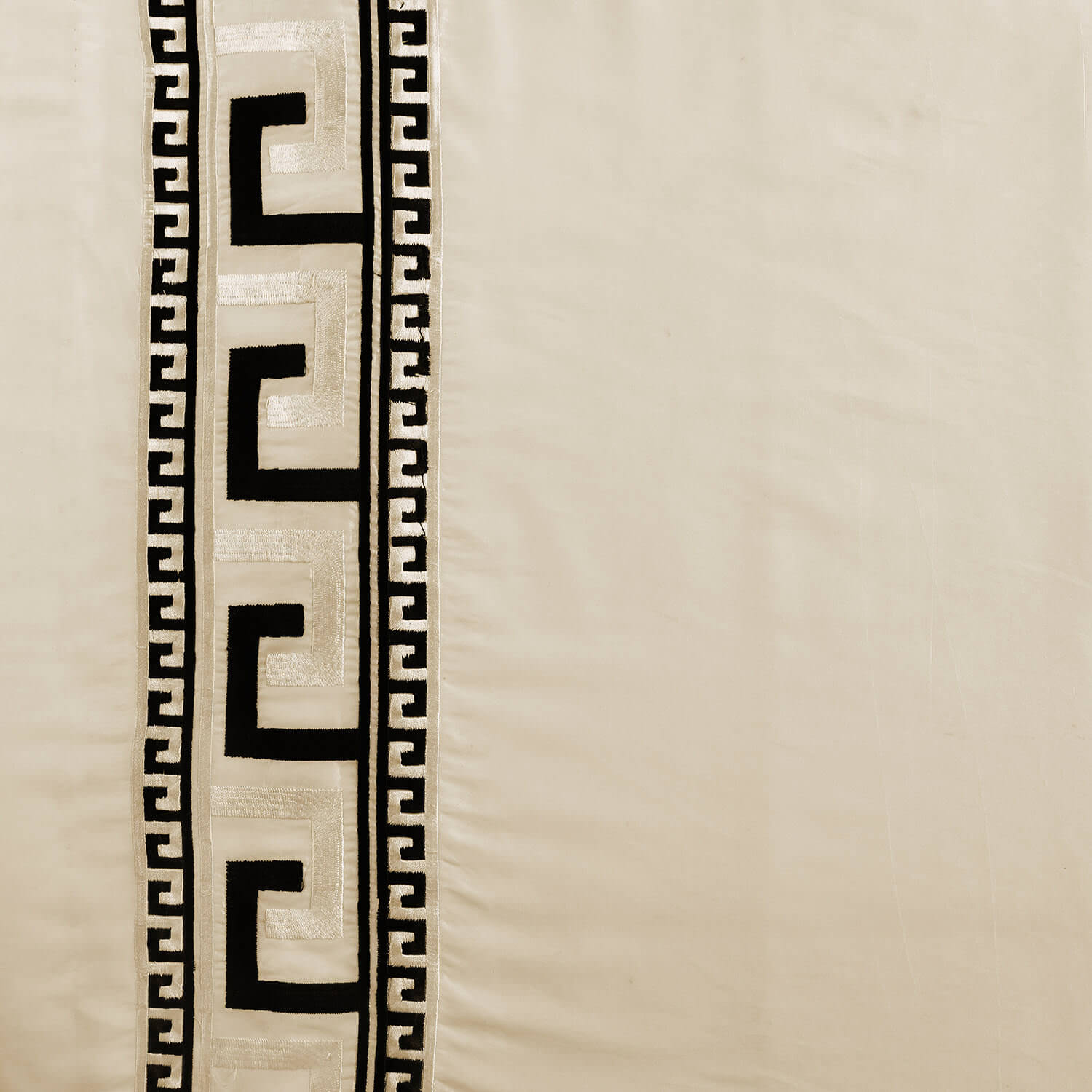 Greco Ivory Embroidered Faux Silk Swatch