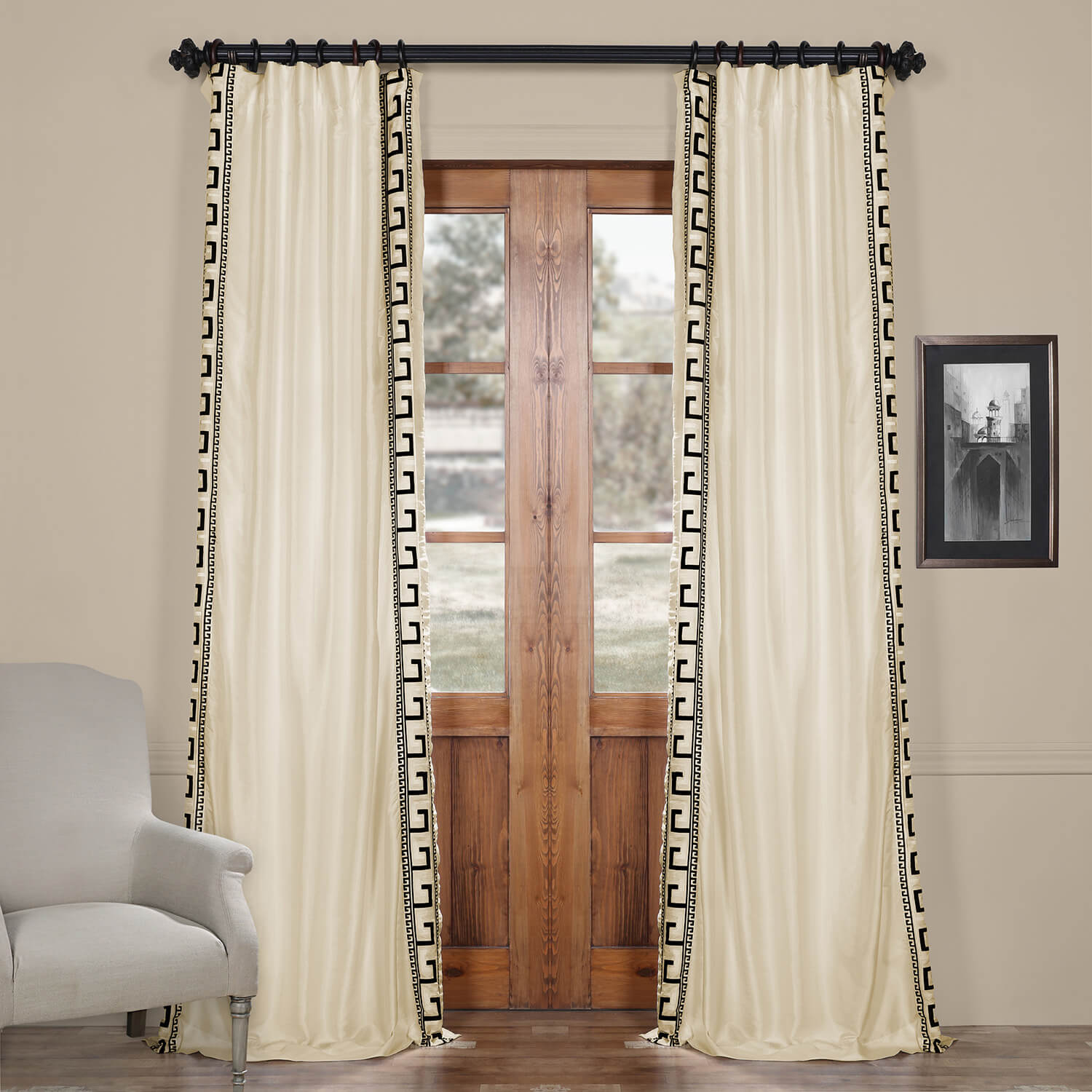 Greco Ivory Embroidered Faux Silk Curtain