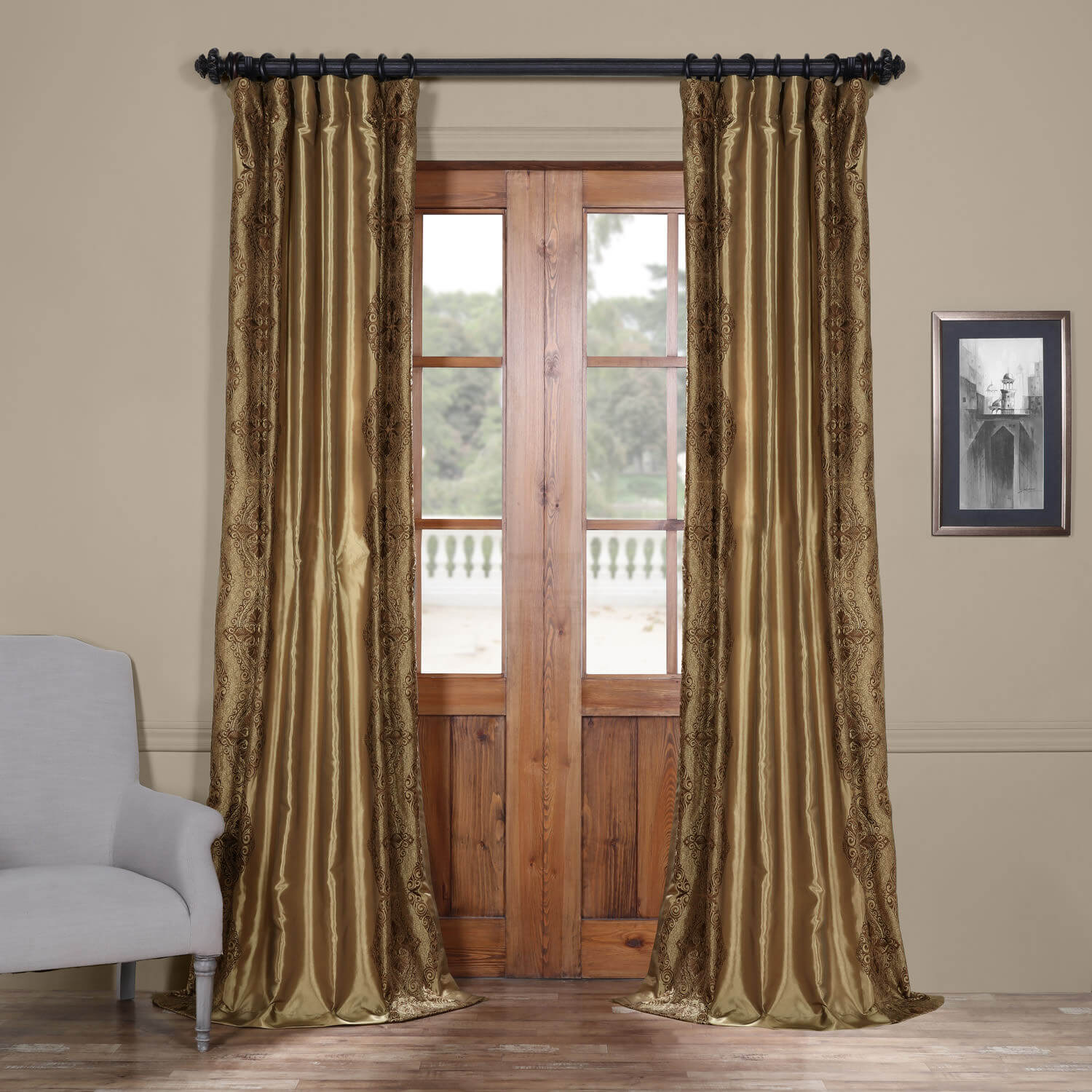 Chai Embroidered Faux Silk Curtain