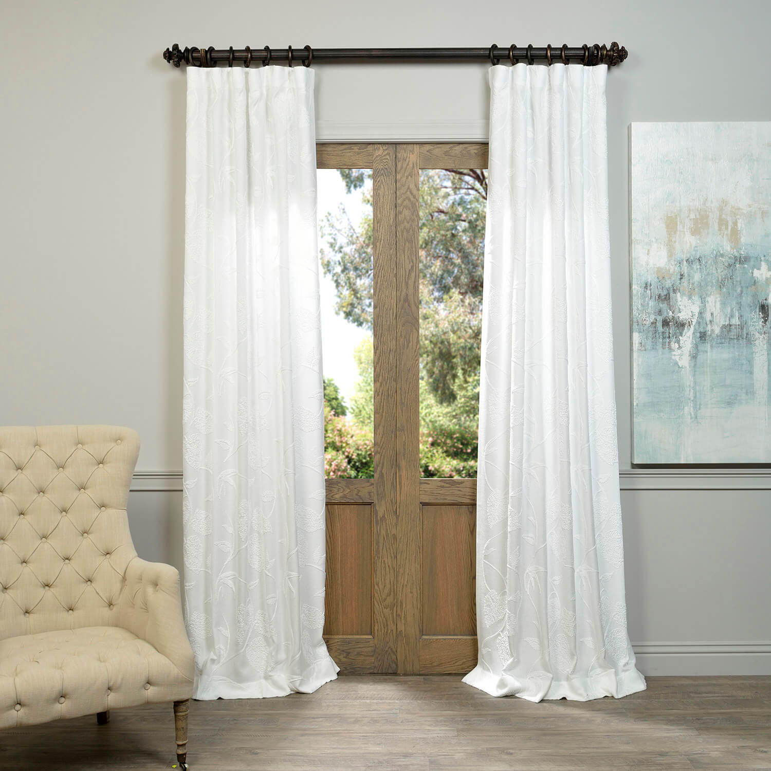 Vine White Embroidered Crewel Faux Linen Curtain