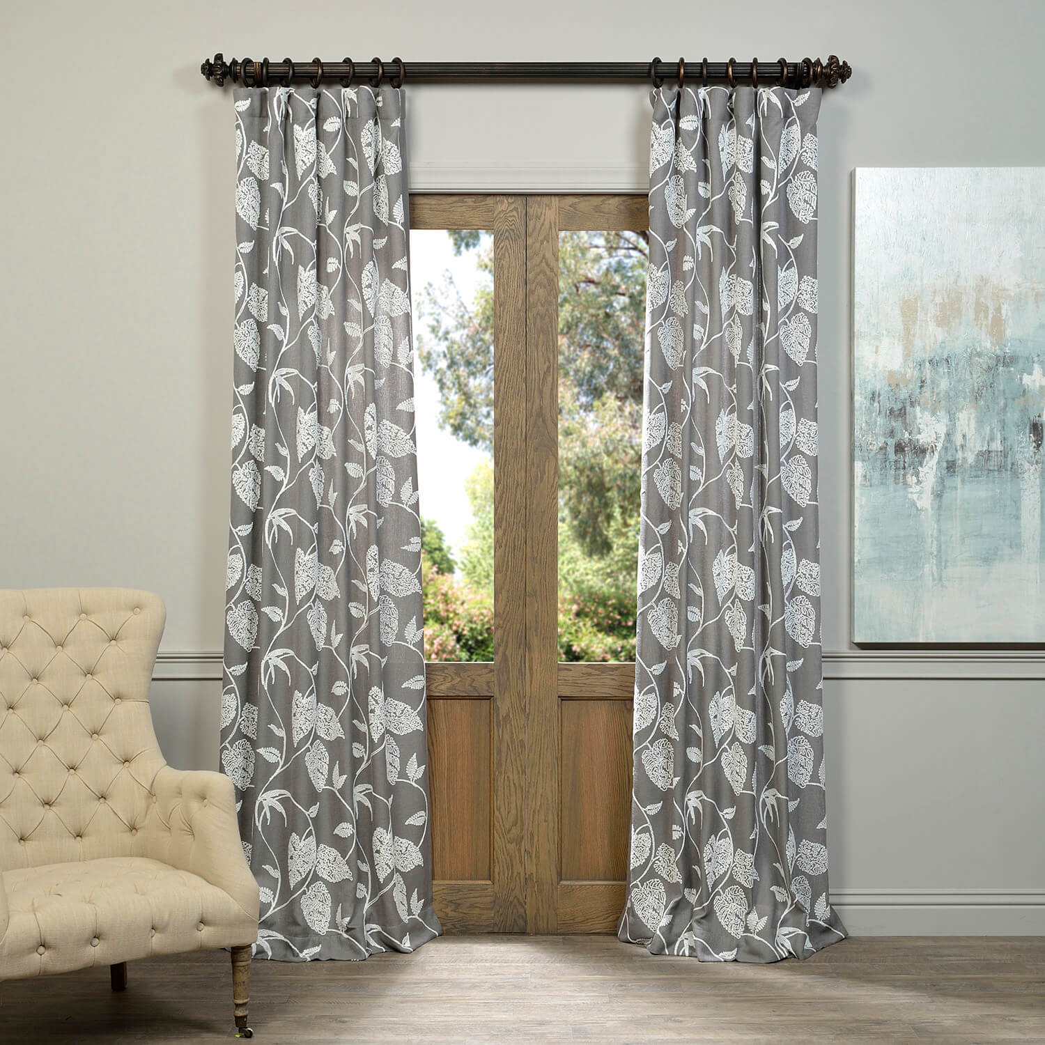 Vine Grey Embroidered Crewel Faux Linen Curtain