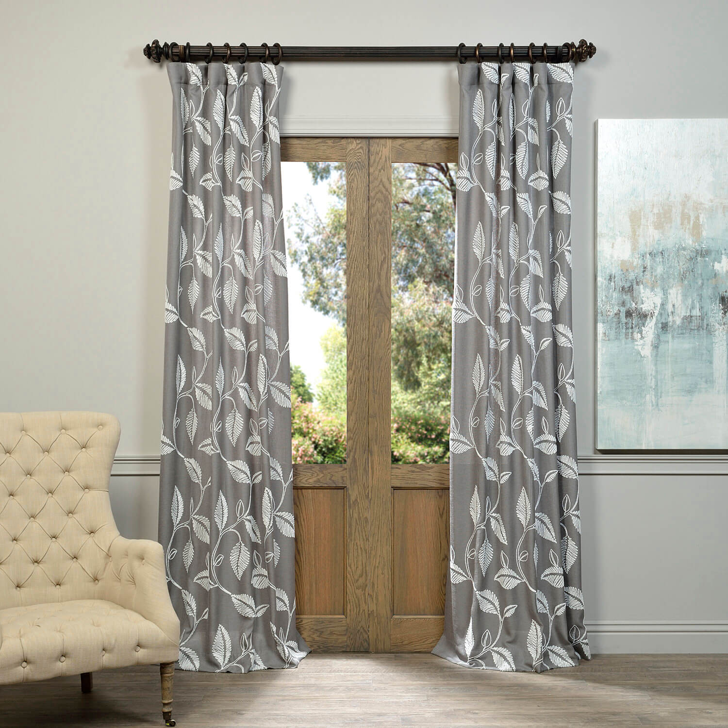 Willow Grey Embroidered Crewel Faux Linen Curtain