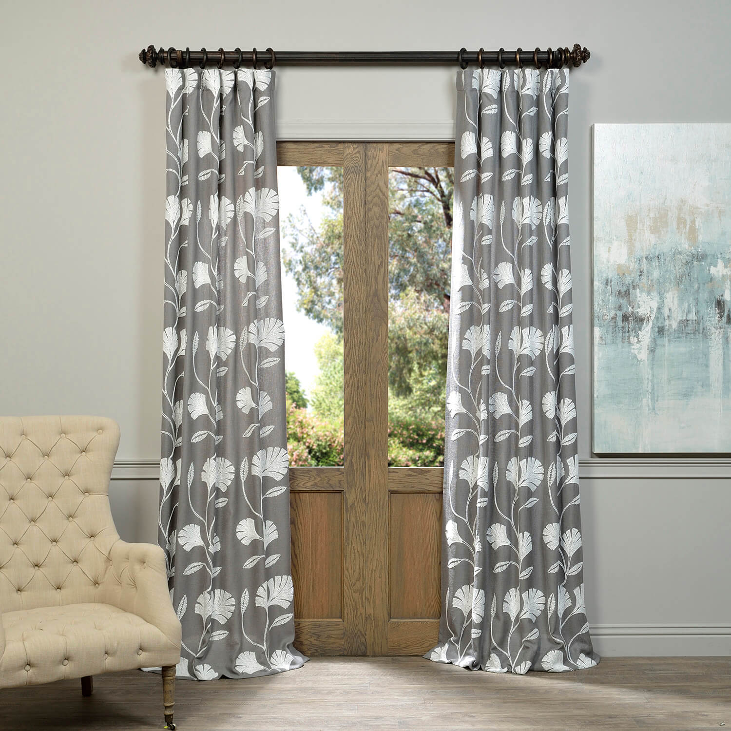 Ginko Grey Embroidered Crewel Faux Linen Curtain
