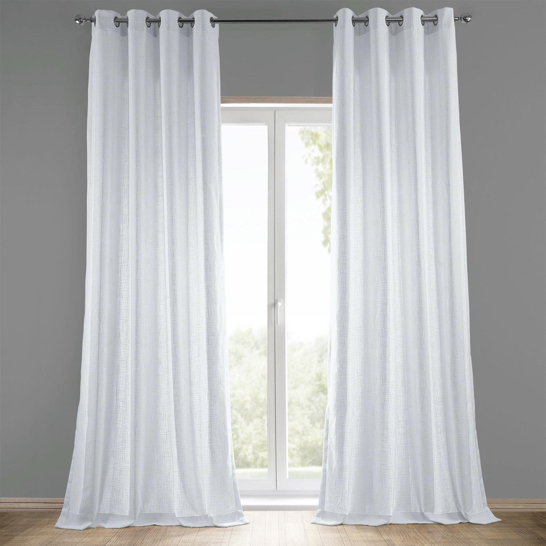 White Grommet Heavy Faux Linen Curtain