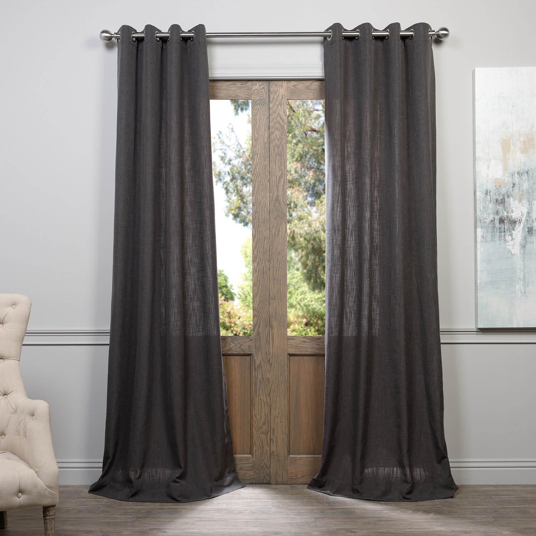 Slate Grey Grommet Heavy Faux Linen Curtain