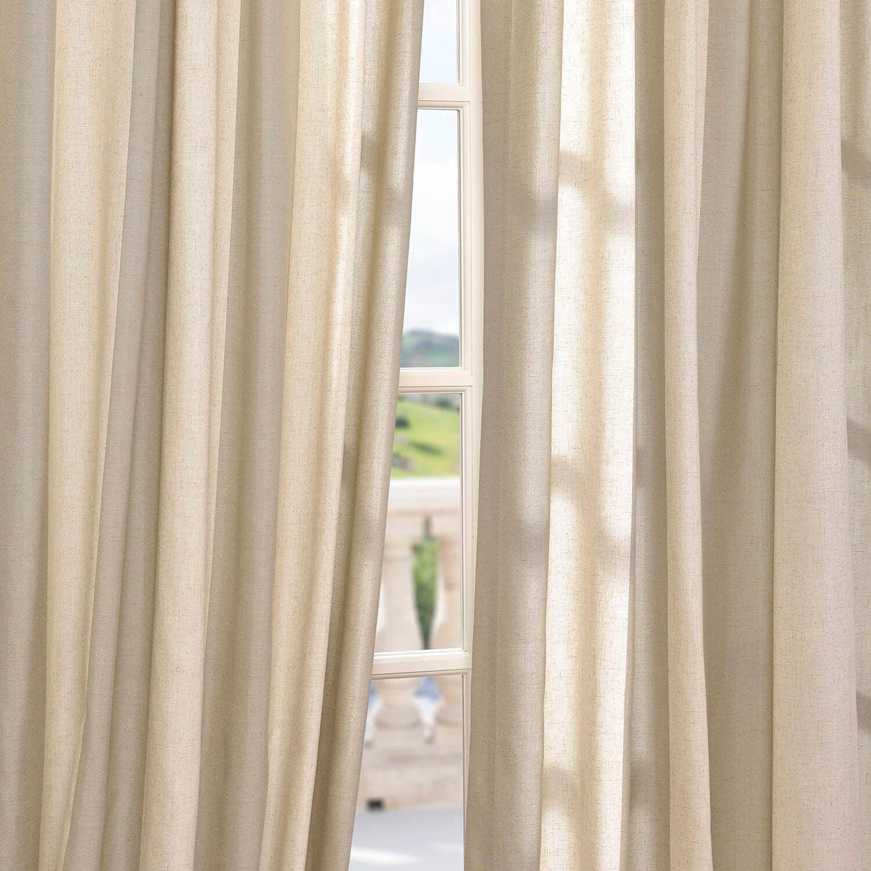 Del Mar Stone Linen Blend Stripe Curtain
