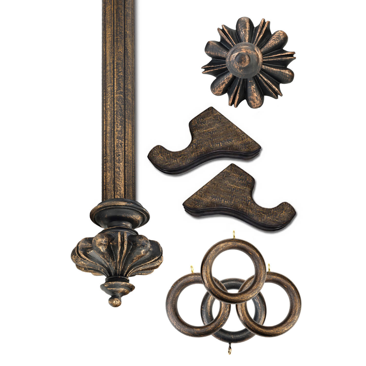 Istanbul Antique Bronze Prepacked Wooden Rod Set