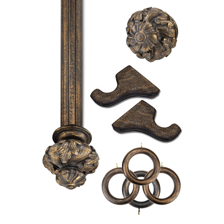 Crown Antique Bronze Prepacked Wooden Rod Set