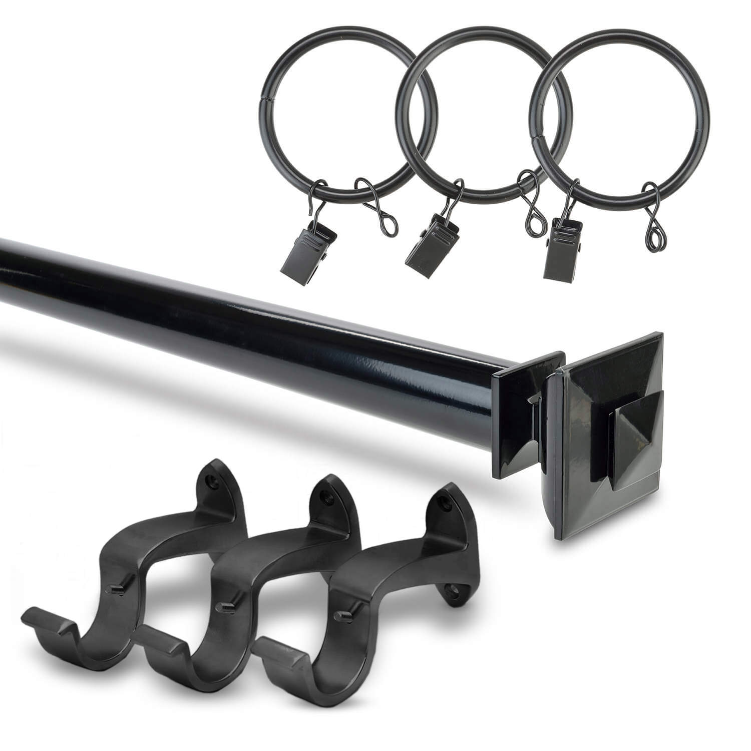 Stacked Square Finial Extendable Rod Set - Gloss Black