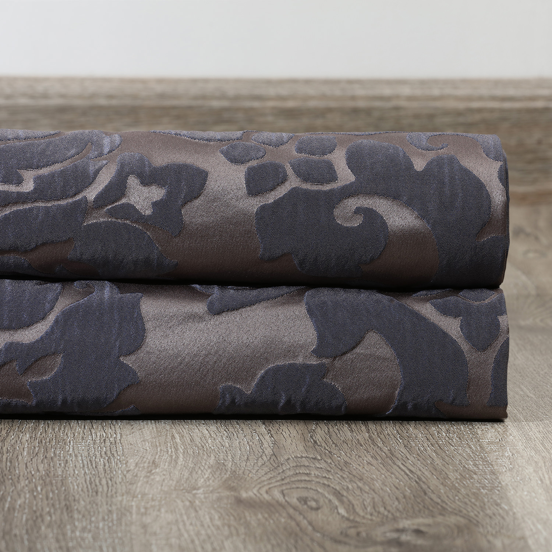 Astoria Mercury Grey & Dark Sapphire Faux Silk Jacquard Swatch