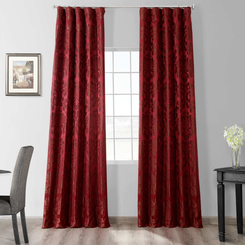 Astoria Red & Bronze Faux Silk Jacquard Curtain