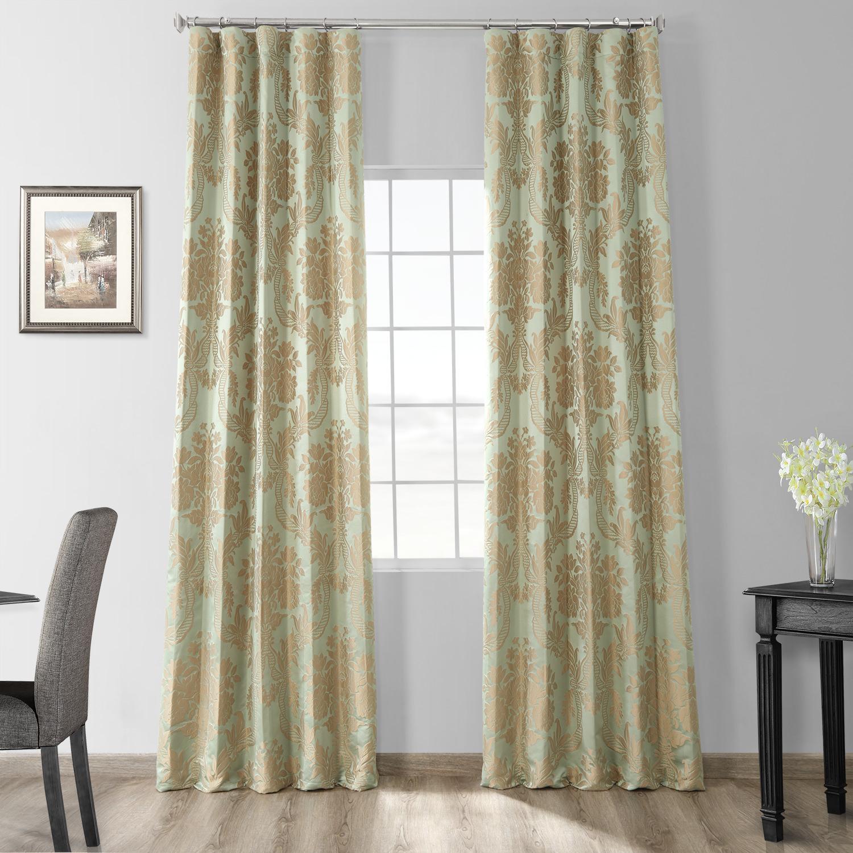 Magdelena Jade & Gold Faux Silk Jacquard Curtain