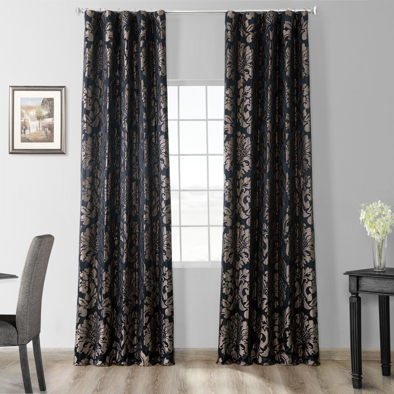 Astoria Black & Pewter Faux Silk Jacquard Curtain