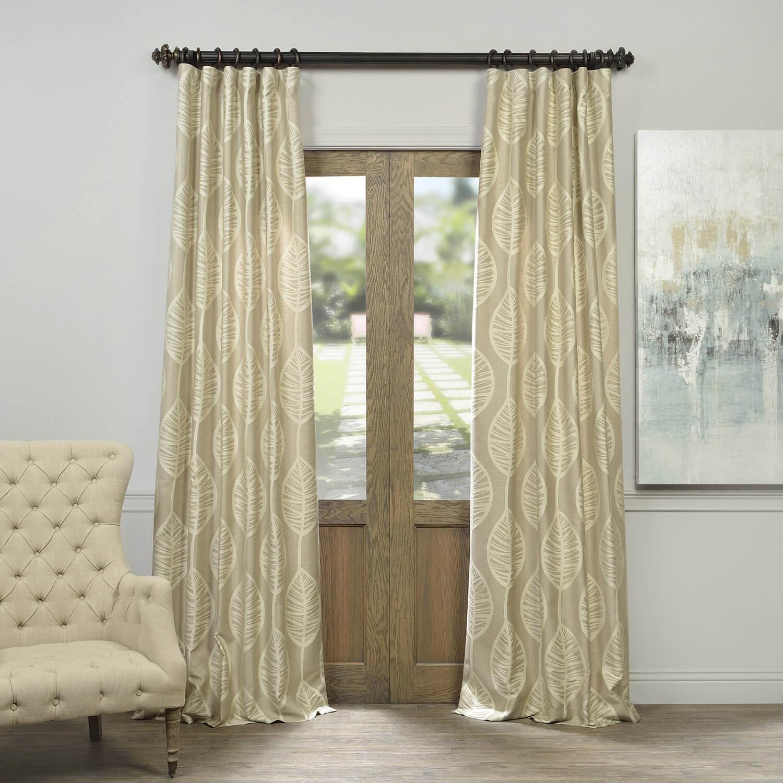 Oahu Taupe Faux Silk Jacquard Curtain