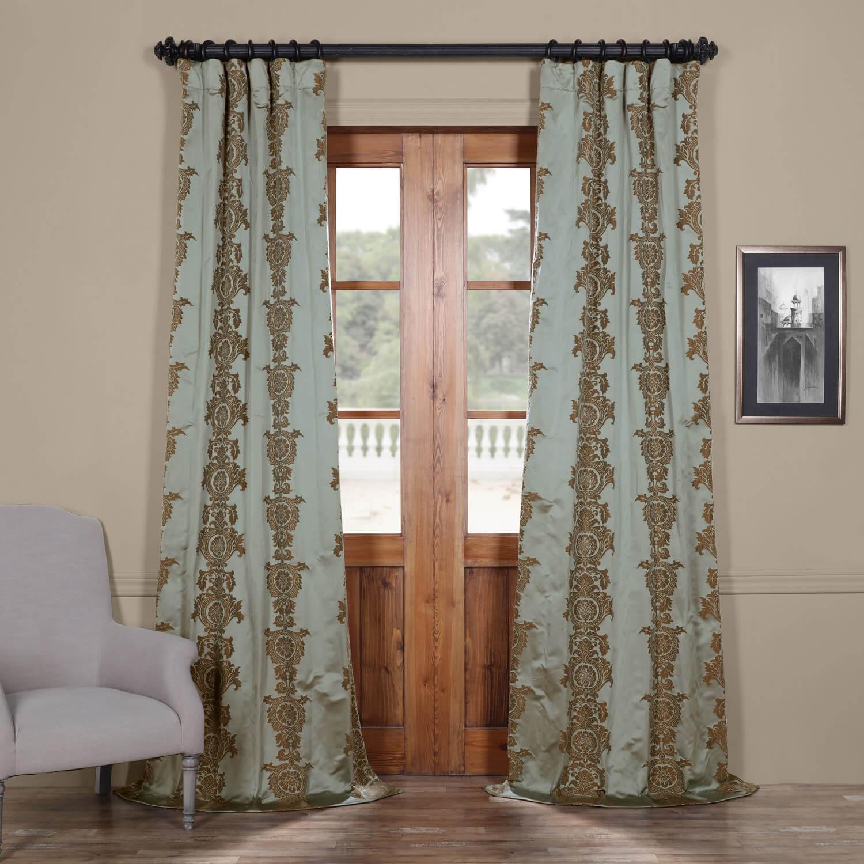 Surrey Aqua Faux Silk Jacquard Curtain