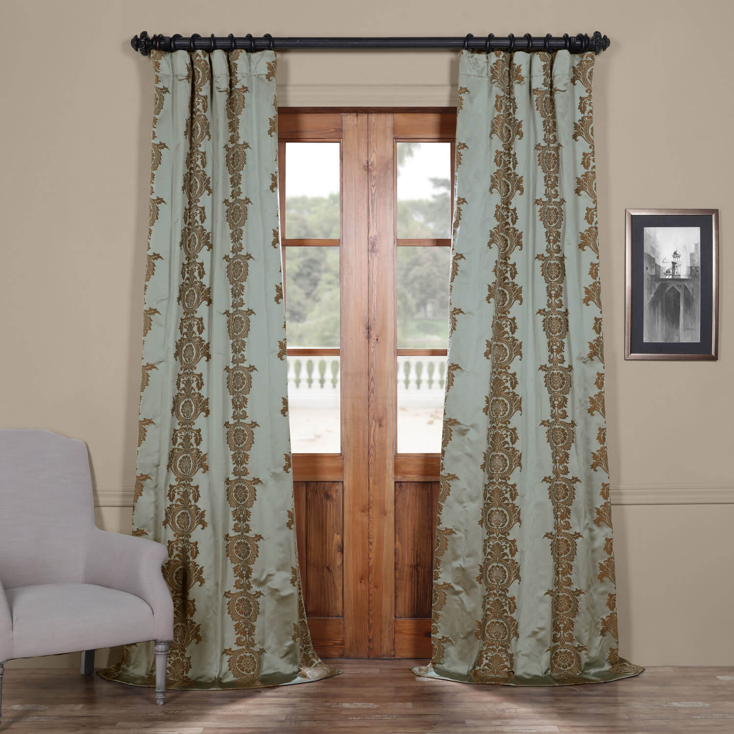 Surrey Aqua Faux Silk Jacquard Curtain
