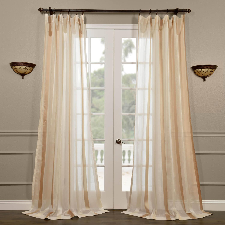 Carlton Crème Linen Blend Stripe Sheer Curtain