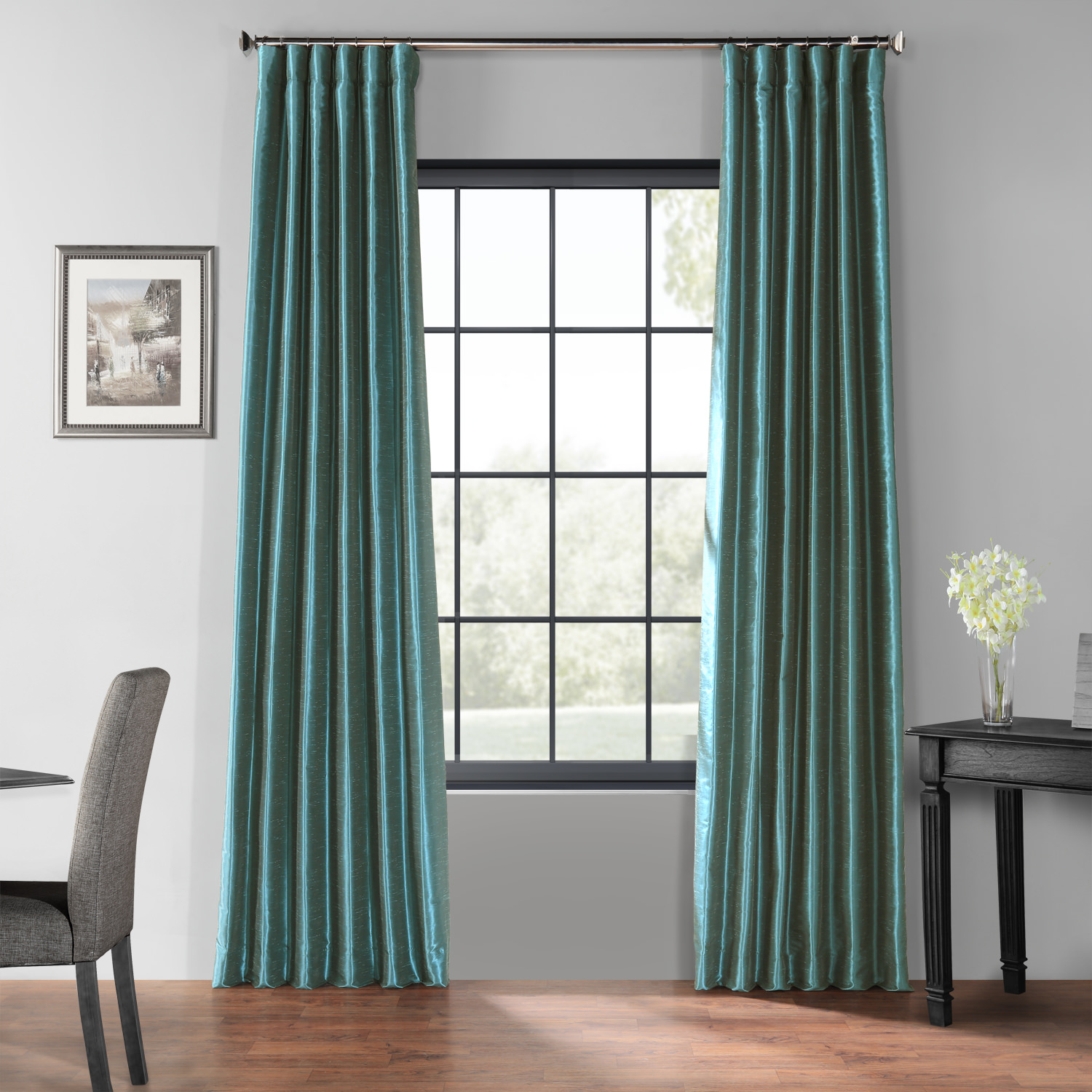 Peacock Blackout Vintage Textured Faux Dupioni Curtain