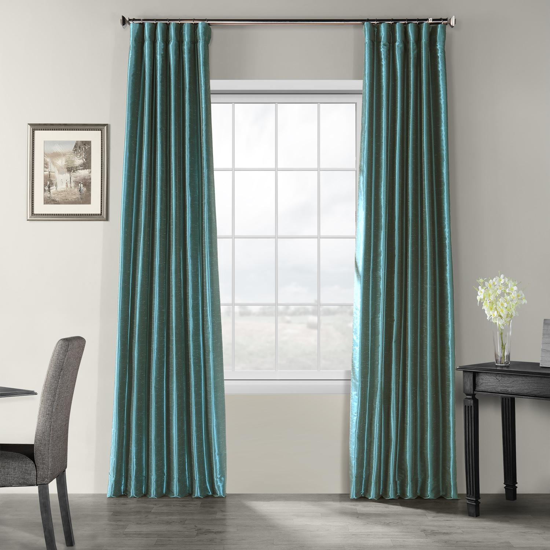 Peacock Vintage Textured Faux Dupioni Silk Curtain