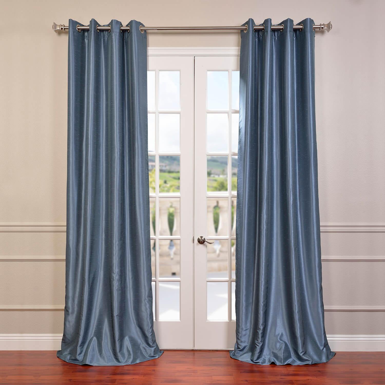 Provencial Blue Grommet Blackout Vintage Textured Faux Dupioni Silk Curtain
