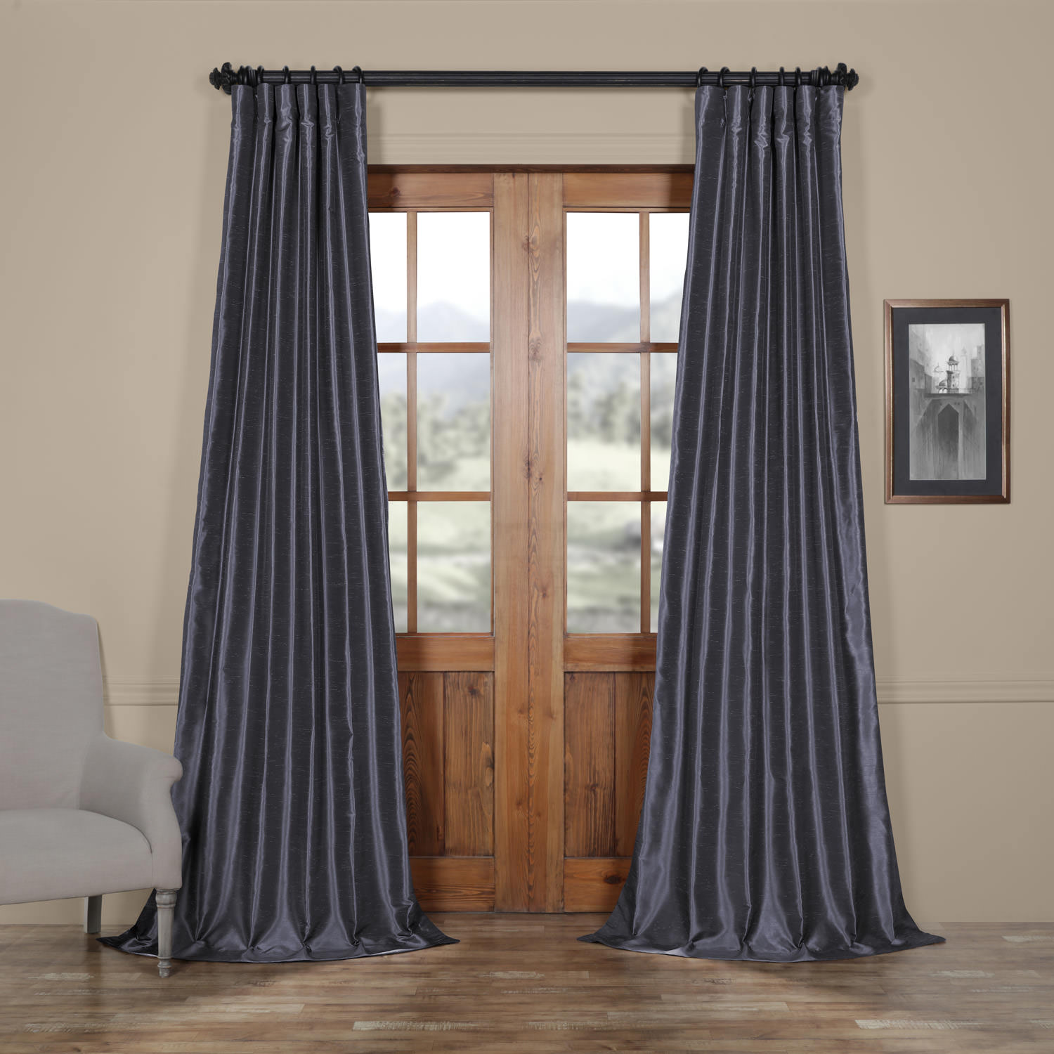 Loyalty Blue Vintage Textured Faux Dupioni Silk Curtain