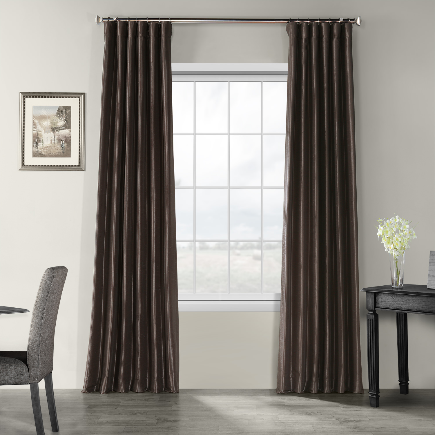 Urban Grey Vintage Textured Faux Dupioni Silk Curtain
