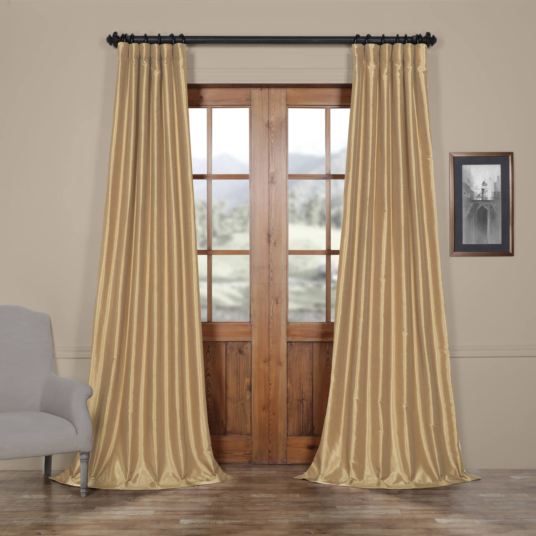 Almond Vintage Textured Faux Dupioni Silk Curtain