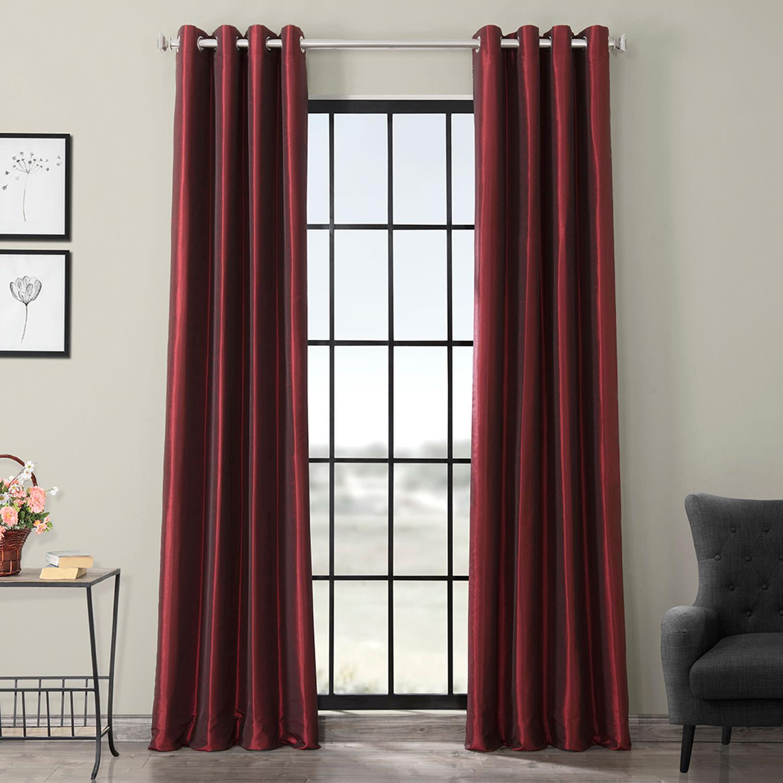 Ruby Grommet Blackout Vintage Textured Faux Dupioni Silk Curtain