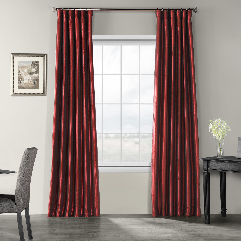 Ruby Vintage Textured Faux Dupioni Silk Curtain