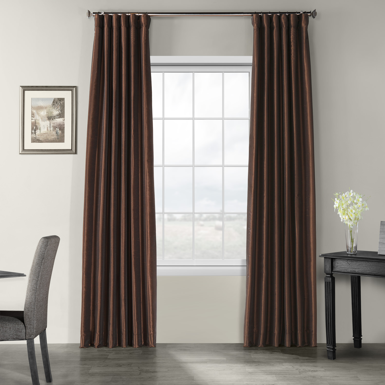 Coffee Bean Vintage Textured Faux Dupioni Silk Curtain