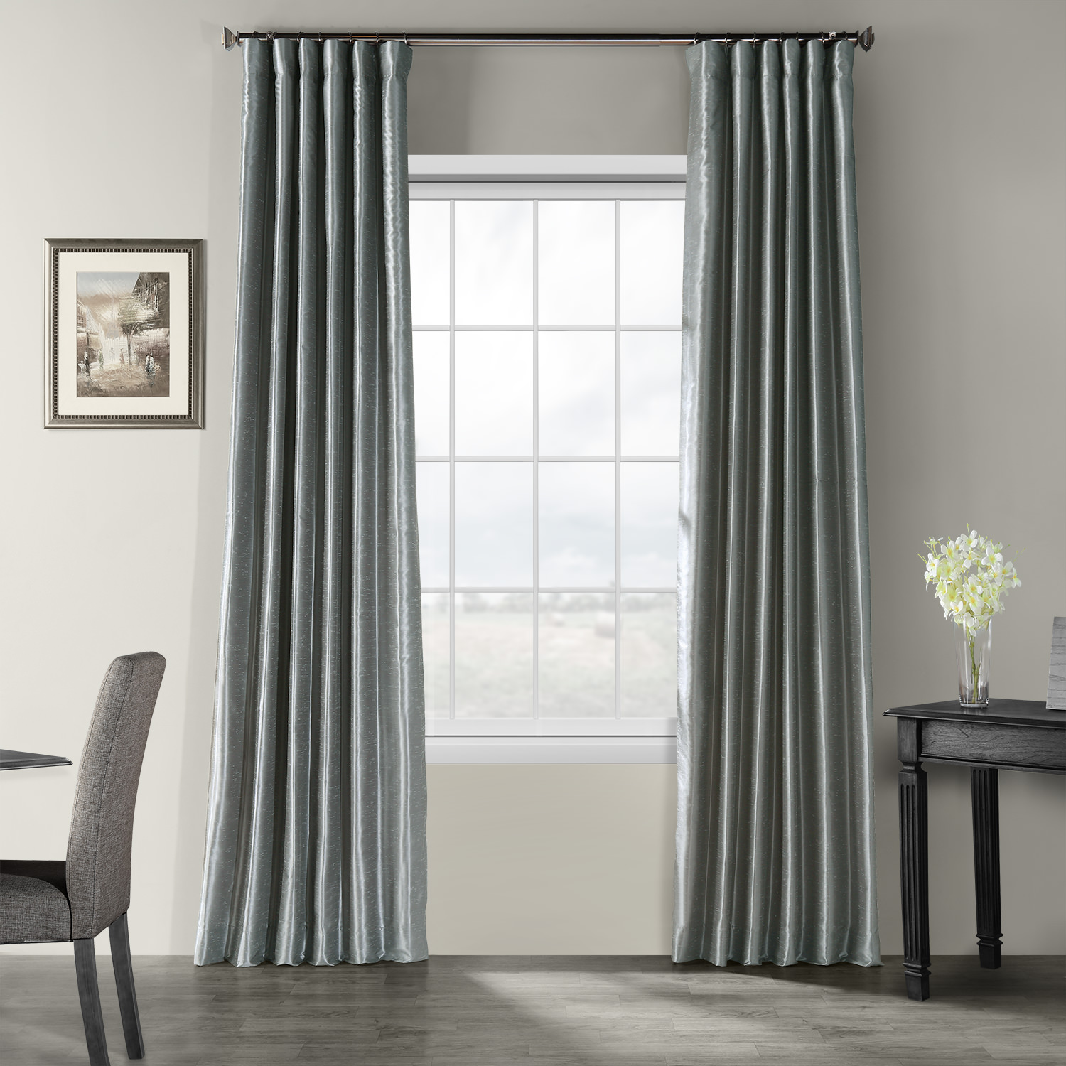 Storm Grey Textured Vintage Faux Dupioni Silk Curtain