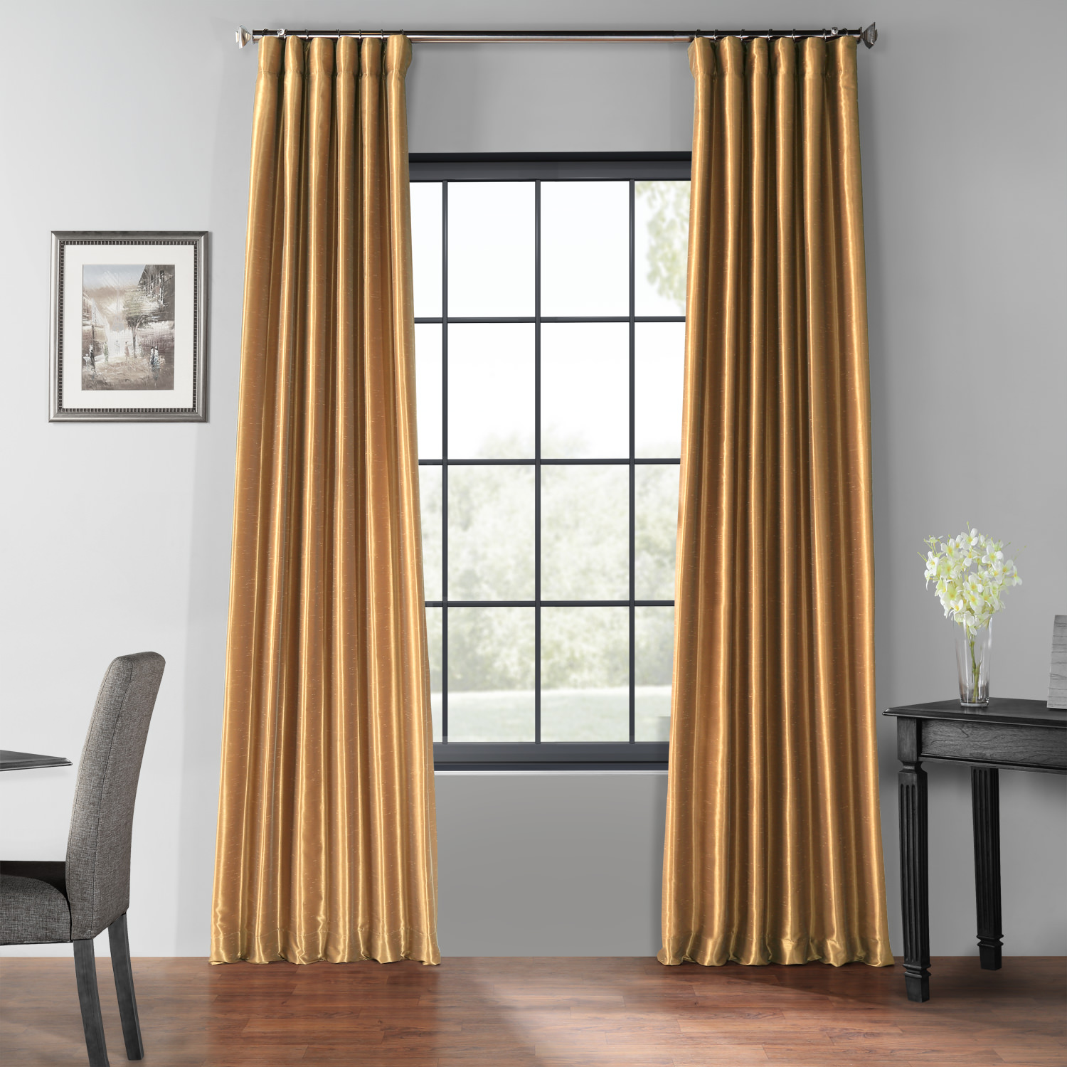 Flax Gold Blackout Vintage Textured Faux Dupioni Curtain