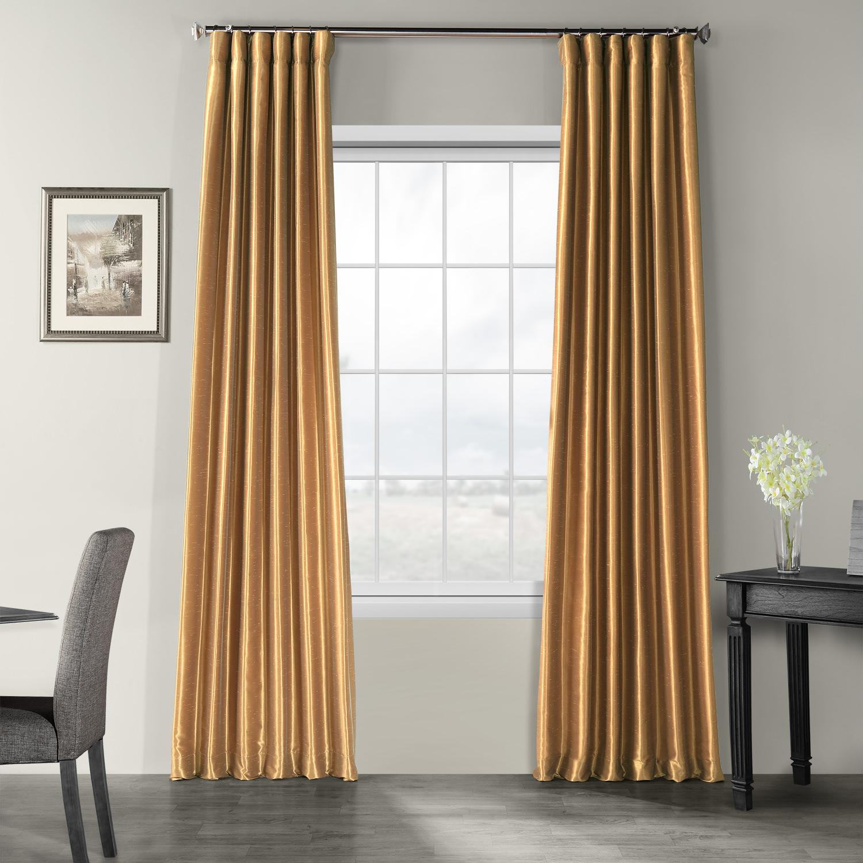 Flax Gold Vintage Textured Faux Dupioni Silk Curtain