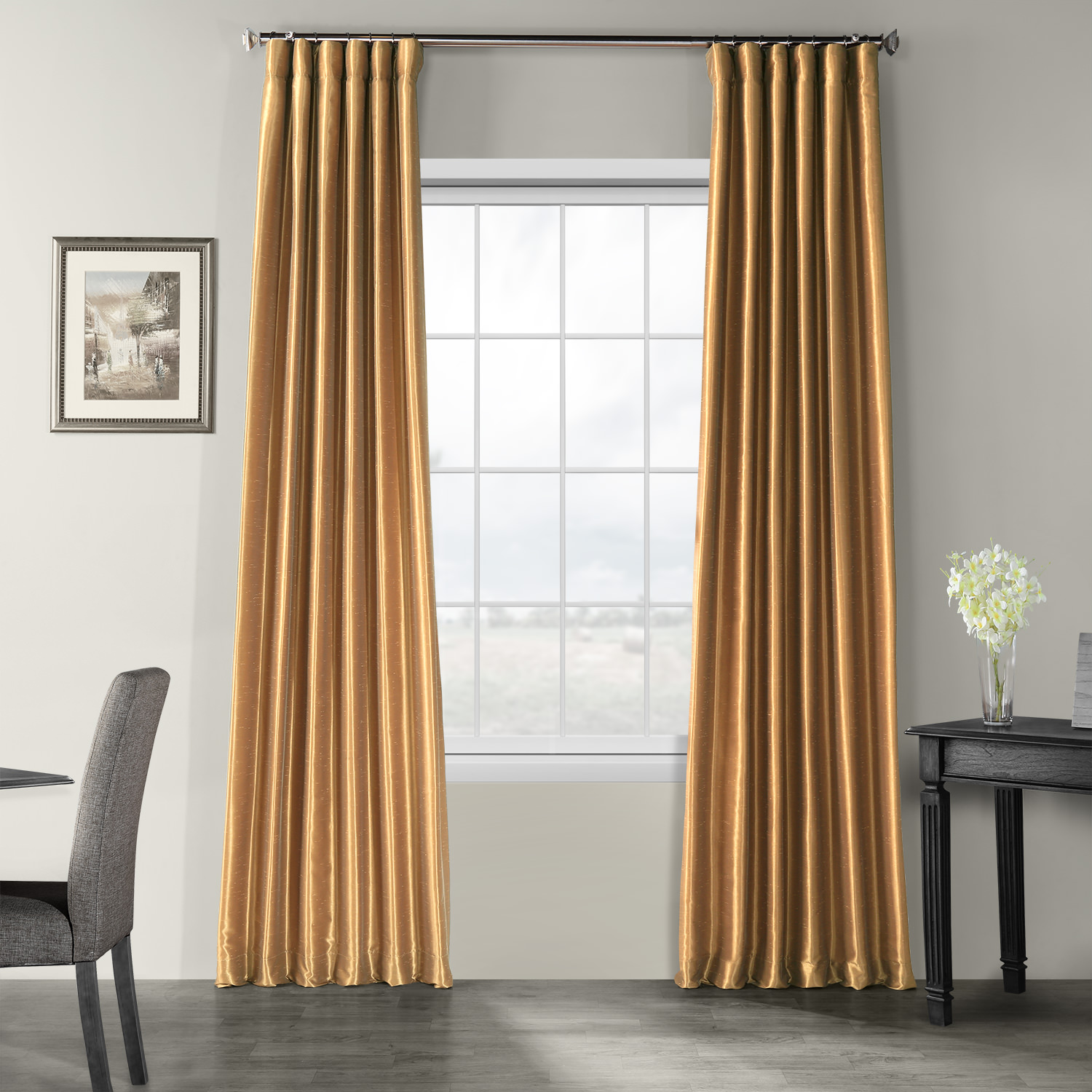 Flax Gold Vintage Textured Faux Dupioni Silk Curtain