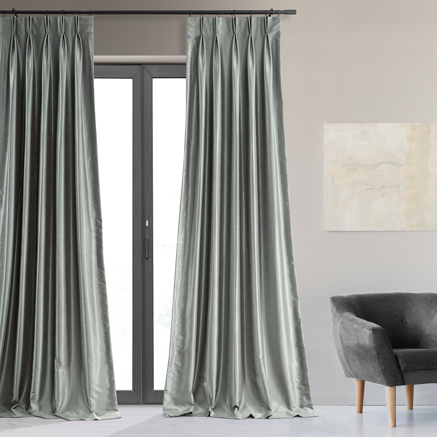 Silver Blackout Vintage Textured Faux Dupioni Pleated Curtain