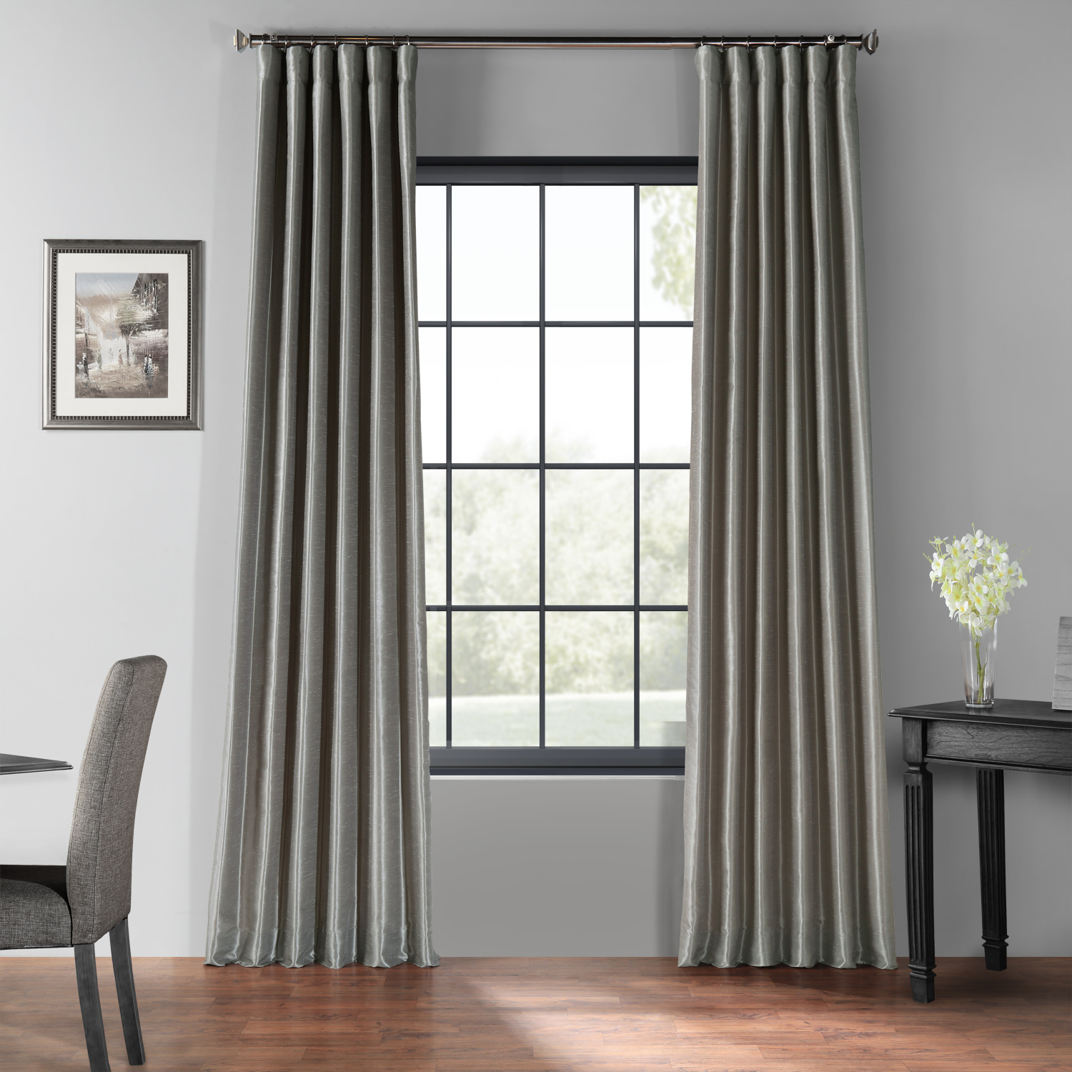 Silver Blackout Vintage Textured Faux Dupioni Curtain