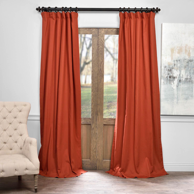 Autumn Rust Solid Cotton Blackout Curtain