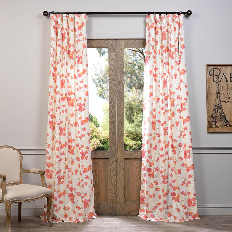 Dogwood Rose Printed Cotton Curtain