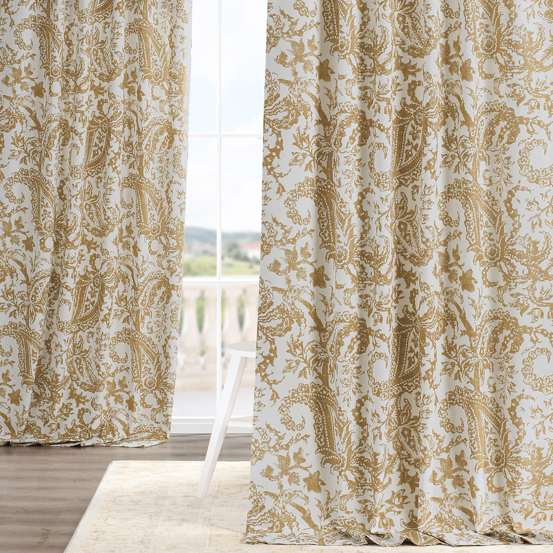 Edina Yellow Printed Cotton Curtain
