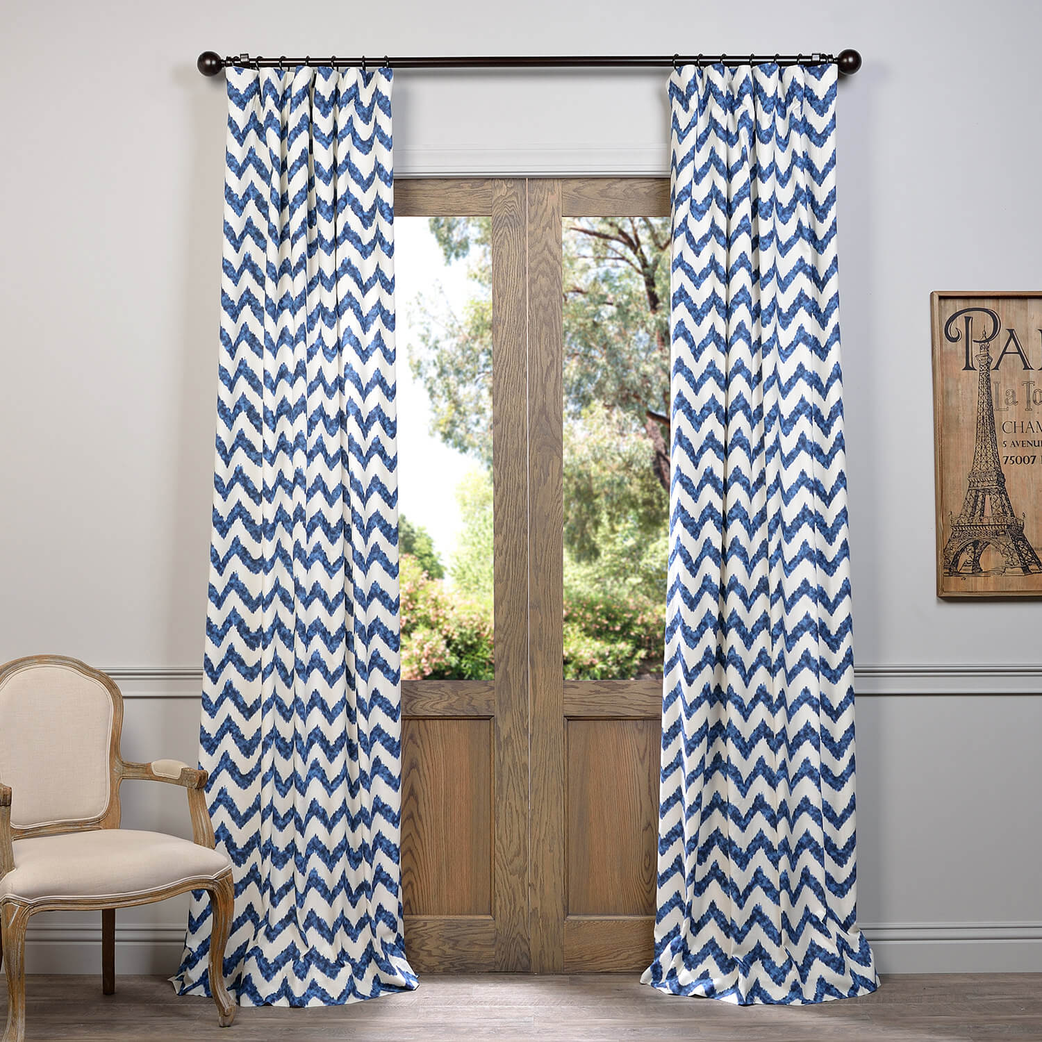 Calipso Blue Printed Cotton Curtain