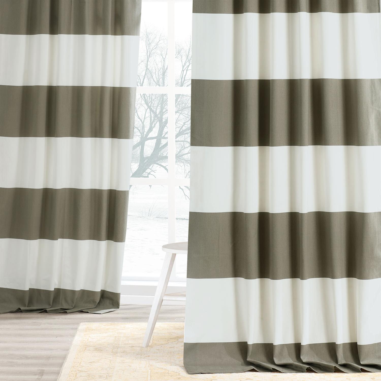 Thunder Tan &Off  White Horizontal Stripe Curtain