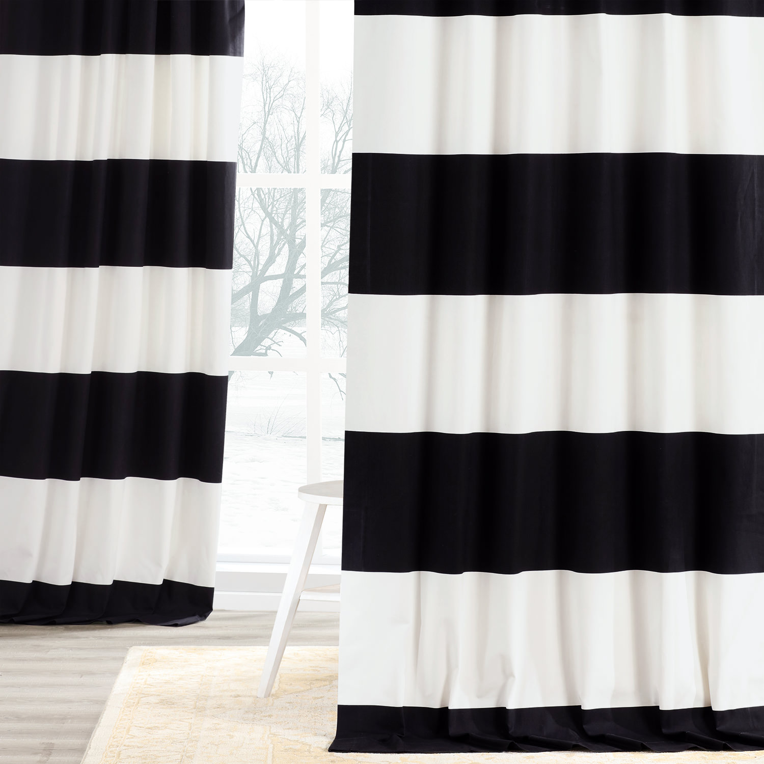 Onyx Black & Off White Horizontal Stripe Curtain