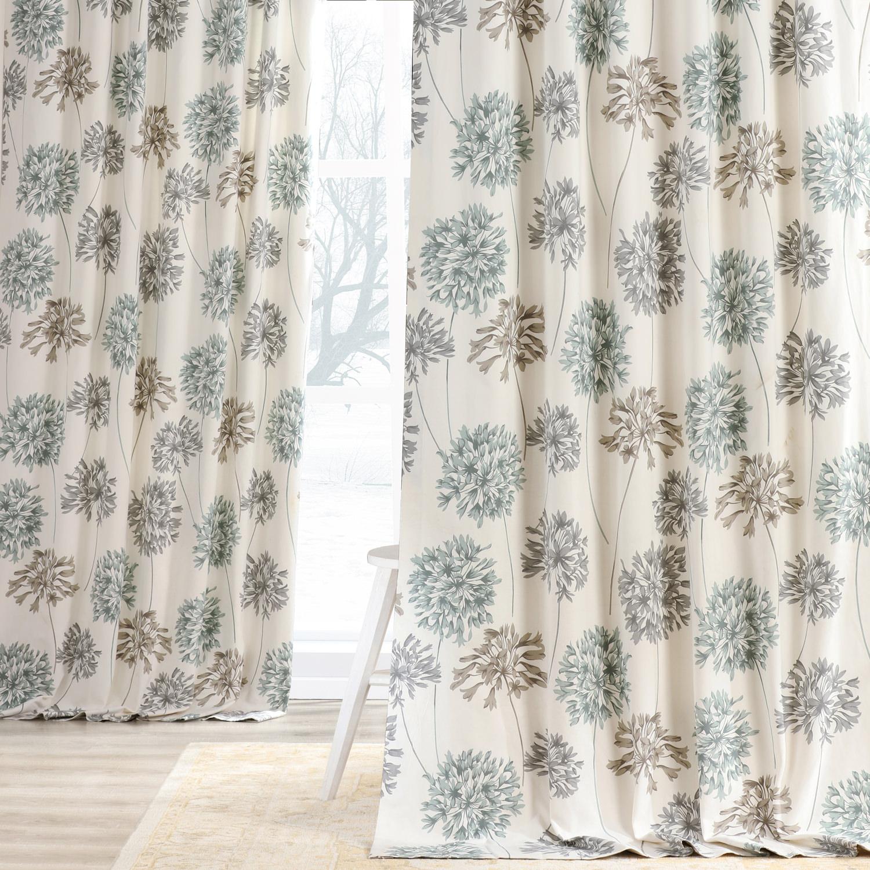 Allium Blue Gray Printed Cotton Curtain